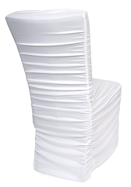 Black Ivory White Ruched Chair Cover Pleated Puckered