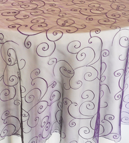 Purple Scroll Organza
